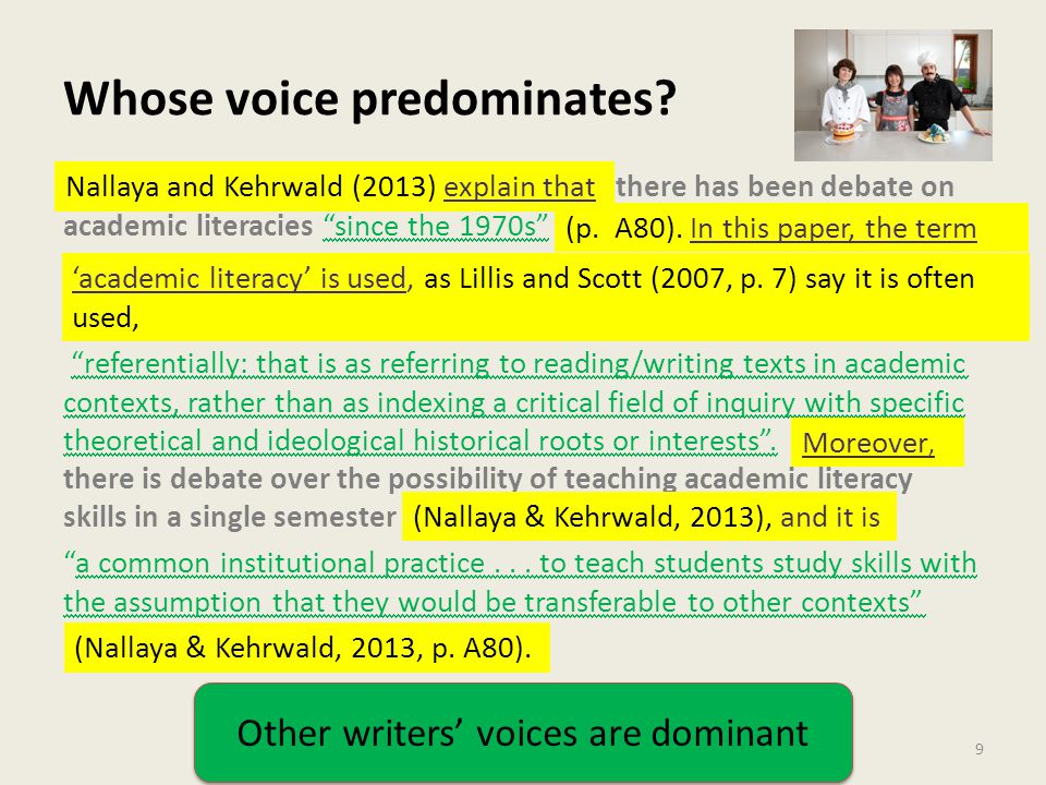 """Whose voice predominates? 9 there has been debate on academic literacies """"since the 1970s"""" """"referentially: that is as referring to reading/writing tex"""
