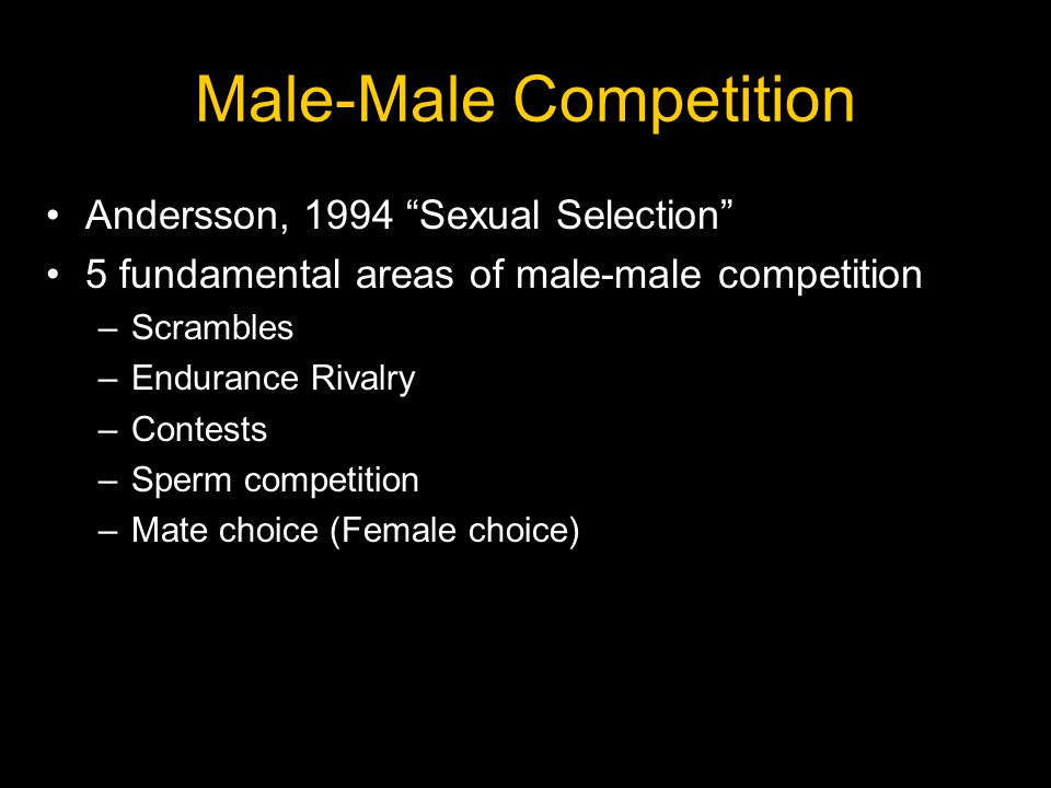 "Male-Male Competition Andersson, 1994 ""Sexual Selection"" 5 fundamental areas of male-male competition –Scrambles –Endurance Rivalry –Contests –Sperm c"