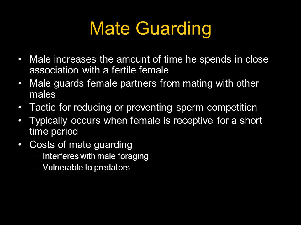 Mate Guarding Male increases the amount of time he spends in close association with a fertile female Male guards female partners from mating with othe