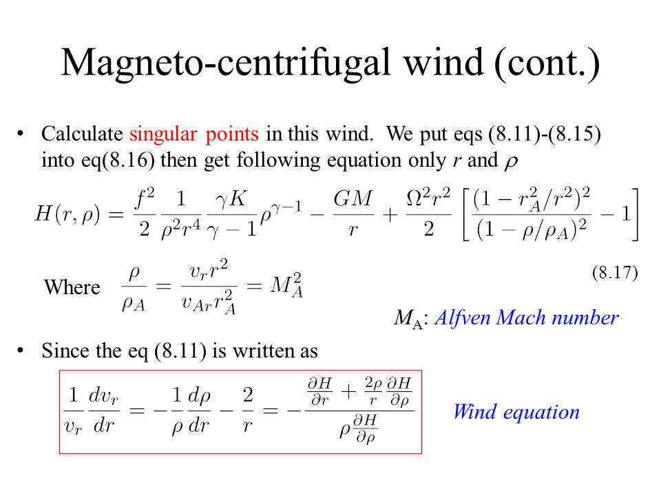 Magneto-centrifugal wind (cont.) Calculate singular points in this wind.