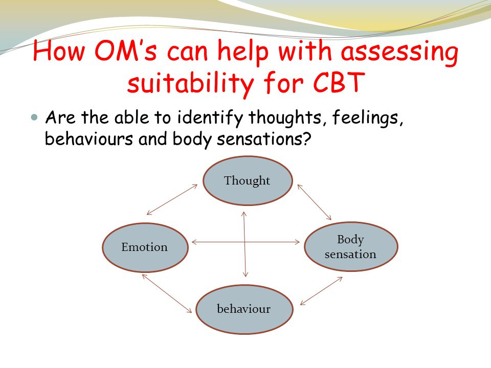 How OM's can help with assessing suitability for CBT Are the able to identify thoughts, feelings, behaviours and body sensations? Emotion Thought Body