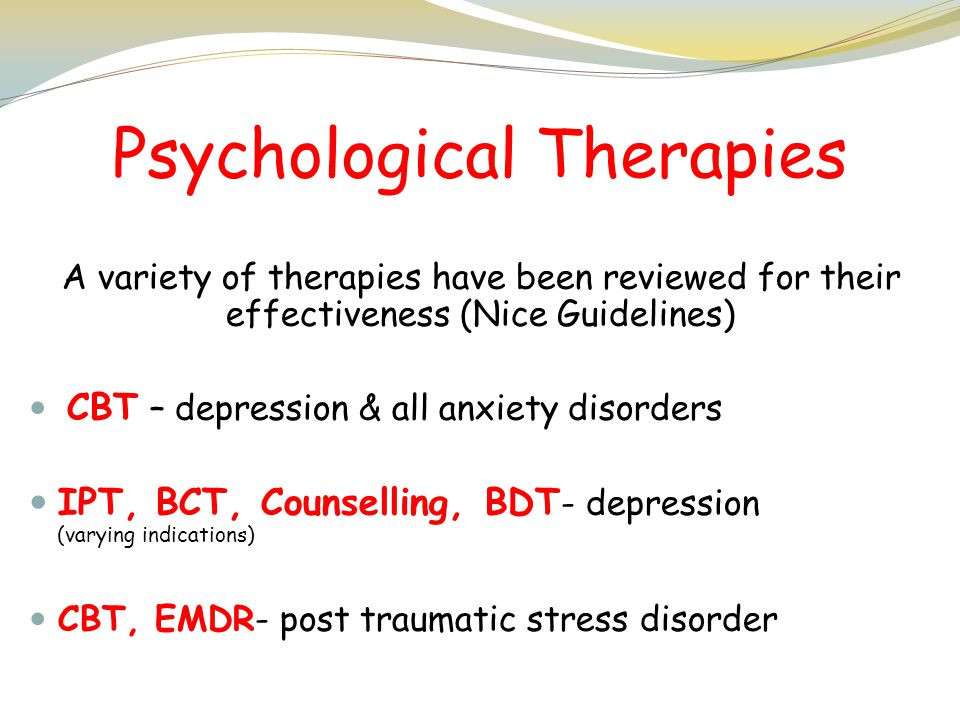 Cognitive Behavioural Therapy EMDR Barbara Fulton & Yvonne Drew Depression: Moderate to Severe Depression: Mild to Moderate Panic Disorder Generalised Anxiety Disorder Social Phobia OCD (Obsessive Compulsive Disorder) PTSD (Post Traumatic Stress Disorder) Hypochondriasis (Somatoform disorder) Specific Phobias