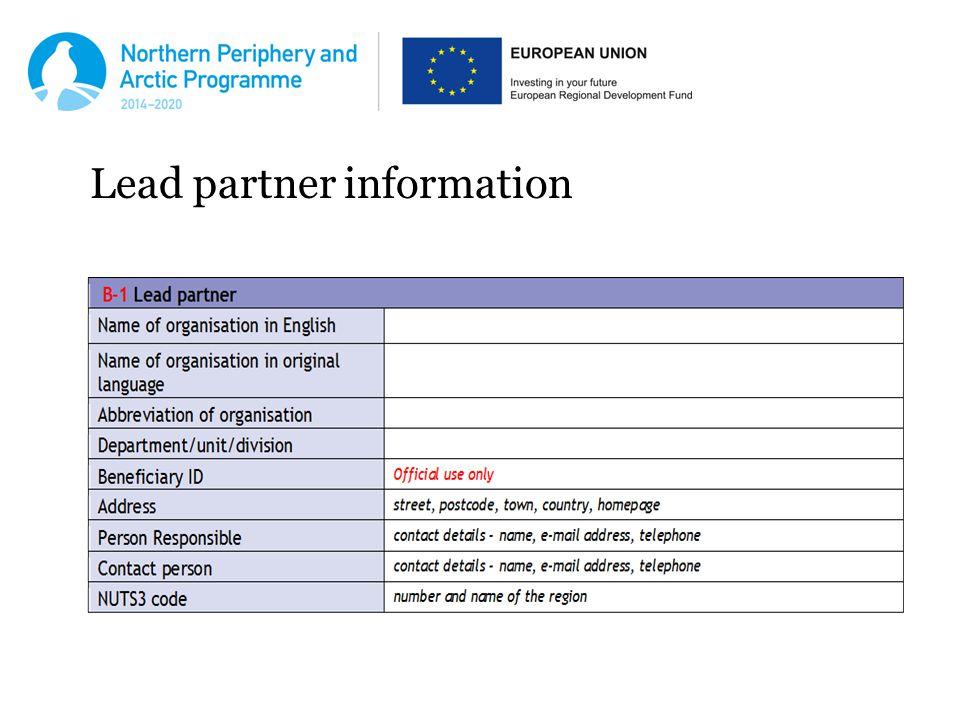 Lead partner information