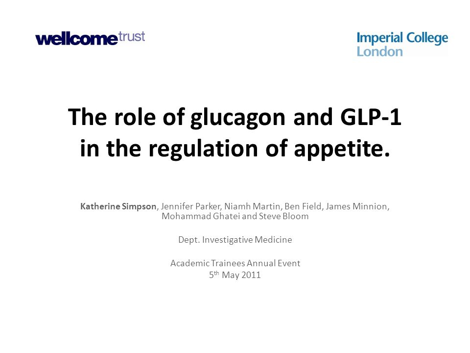 The role of glucagon and GLP-1 in the regulation of appetite. Katherine Simpson, Jennifer Parker, Niamh Martin, Ben Field, James Minnion, Mohammad Gha
