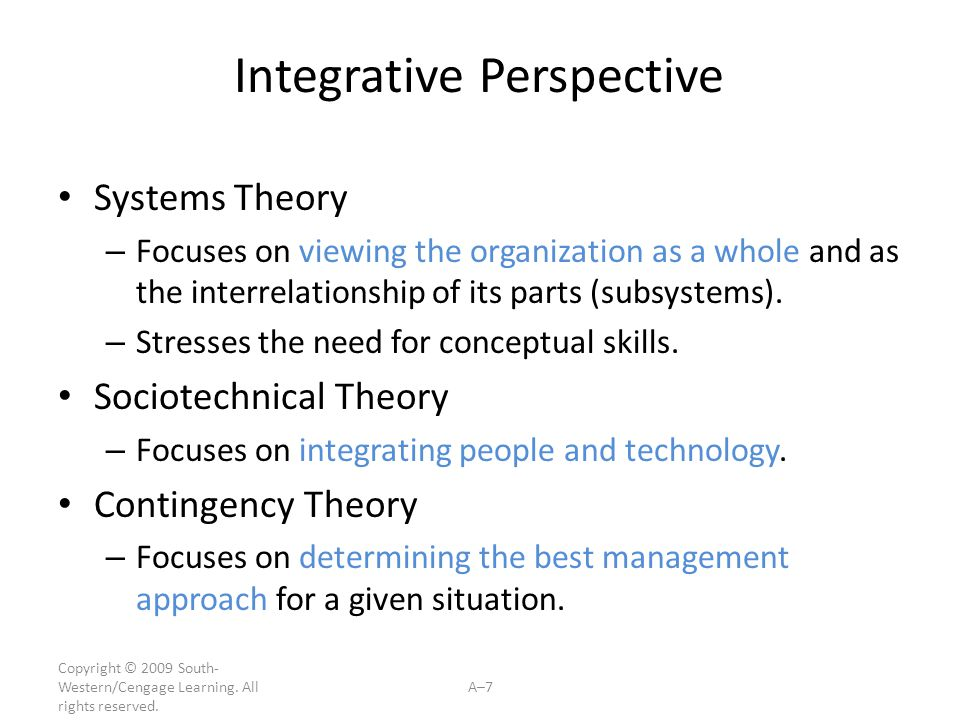 Copyright © 2009 South- Western/Cengage Learning. All rights reserved. A–7 Integrative Perspective Systems Theory – Focuses on viewing the organizatio