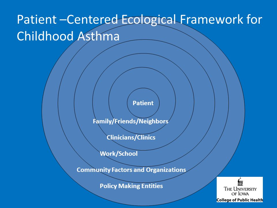 Int Patient Policy Making Entities Community Factors and Organizations Work/School Clinicians/Clinics Family/Friends/Neighbors Patient –Centered Ecological Framework for Childhood Asthma