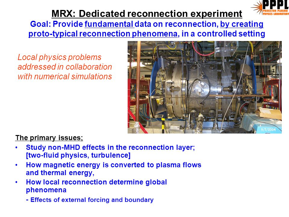 System L (cm)B (G) d i = c/  pi (cm)  sp (cm)d i /  sp MRX10100-5001-50.1-5.2-100 RFP/Tokamak 30/100 10 3 / 10 4 10 0.1100 Magnetosphere 10 9 10 -3 10 7 10 4 1000 Solar flare 10 9 100 10 4 10 2 100 ISM10 18 10 -6 10 710 0.001 Proto-star d i /  s >> 1 Linkages between space and lab on reconnection d i /  sp ~ 5( mfp /L) 1/2