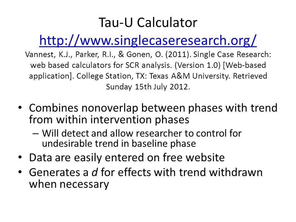 Tau-U Calculator http://www.singlecaseresearch.org/ Vannest, K.J., Parker, R.I., & Gonen, O.