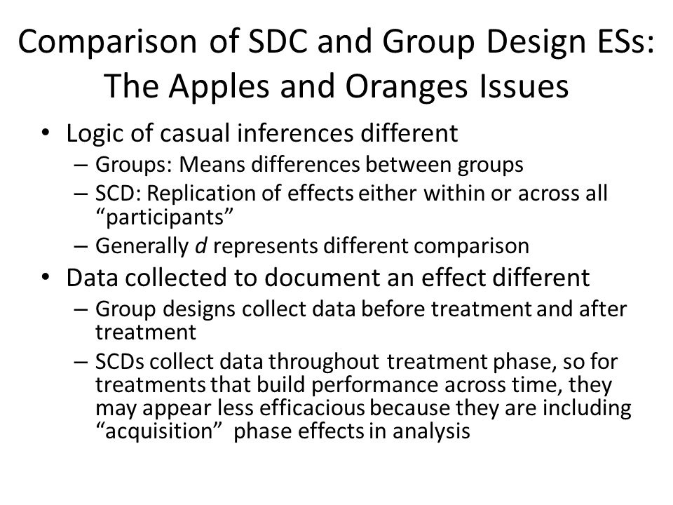 Comparison of SDC and Group Design ESs: The Apples and Oranges Issues Logic of casual inferences different – Groups: Means differences between groups