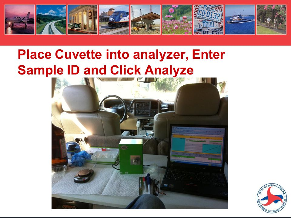 Place Cuvette into analyzer, Enter Sample ID and Click Analyze