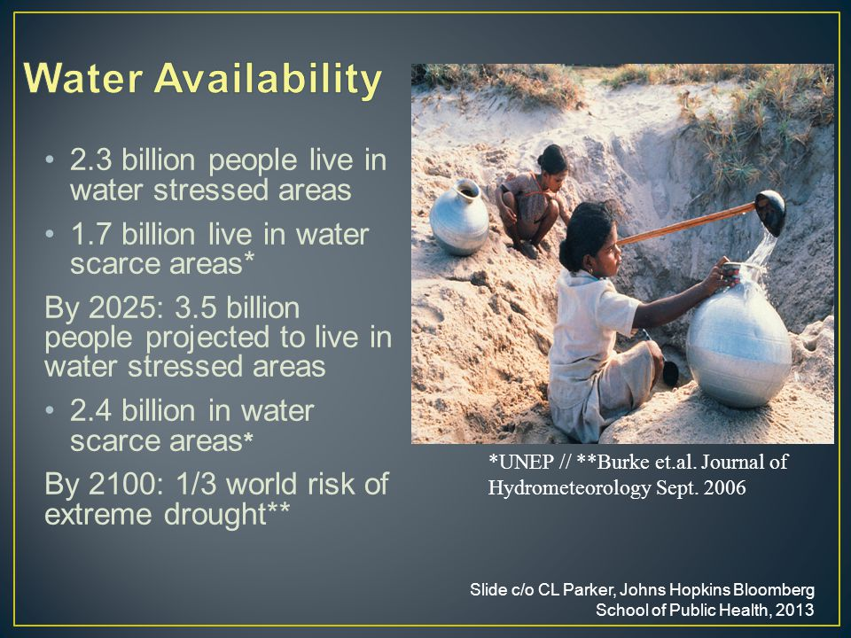 2.3 billion people live in water stressed areas 1.7 billion live in water scarce areas* By 2025: 3.5 billion people projected to live in water stressed areas 2.4 billion in water scarce areas * By 2100: 1/3 world risk of extreme drought** Slide c/o CL Parker, Johns Hopkins Bloomberg School of Public Health, 2013 *UNEP // **Burke et.al.