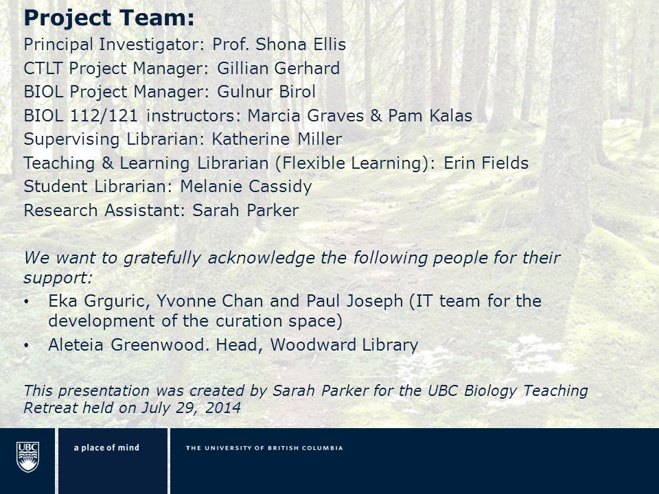 Project Team: Principal Investigator: Prof.