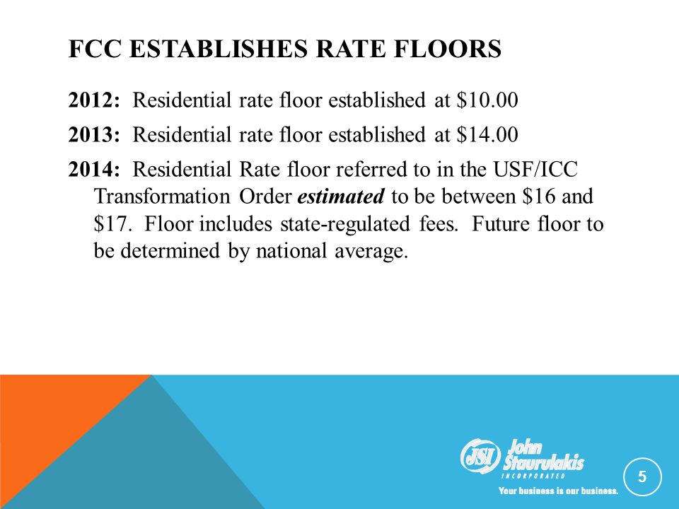 FCC ESTABLISHES RATE FLOORS 2012: Residential rate floor established at $10.00 2013: Residential rate floor established at $14.00 2014: Residential Ra