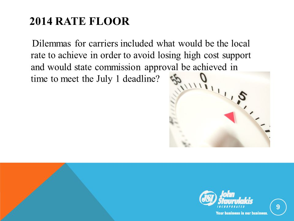 2014 RATE FLOOR Dilemmas for carriers included what would be the local rate to achieve in order to avoid losing high cost support and would state comm