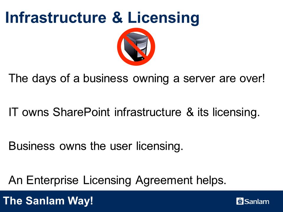 TEXT SLIDE Infrastructure & Licensing The days of a business owning a server are over.