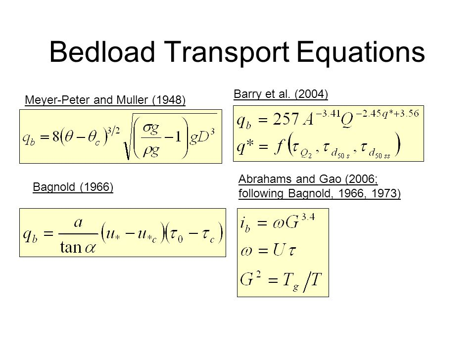 Bedload Transport Equations Meyer-Peter and Muller (1948) Bagnold (1966) Barry et al. (2004) Abrahams and Gao (2006; following Bagnold, 1966, 1973)