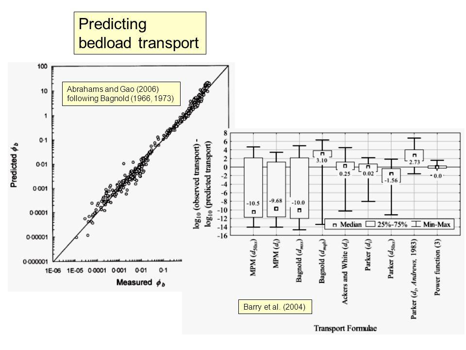 Barry et al. (2004) Abrahams and Gao (2006) following Bagnold (1966, 1973) Predicting bedload transport