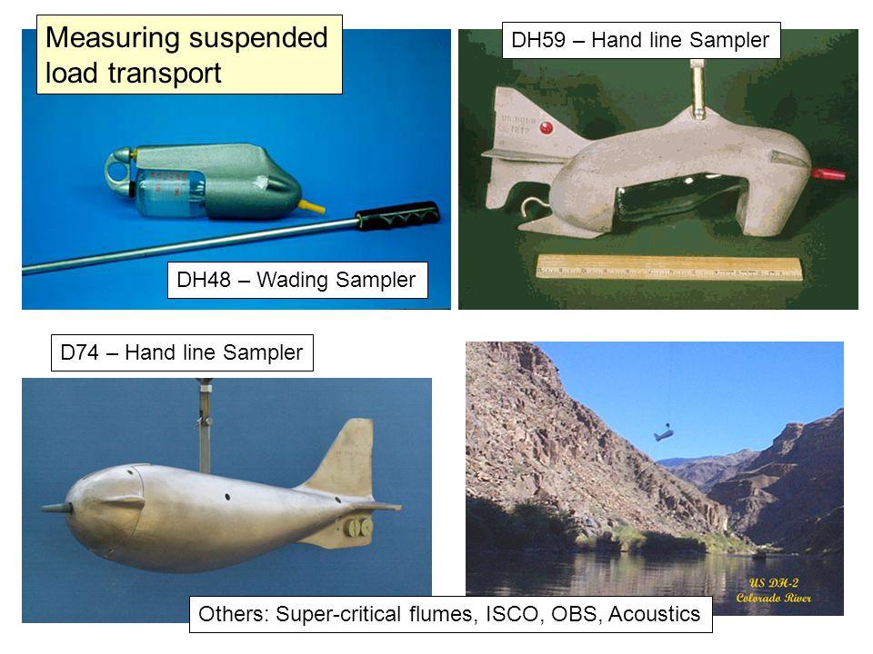 DH48 – Wading Sampler DH59 – Hand line Sampler D74 – Hand line Sampler Others: Super-critical flumes, ISCO, OBS, Acoustics Measuring suspended load tr