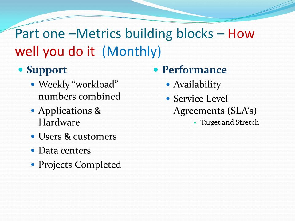 Part one –Metrics building blocks – How well you do it (Monthly) Support Weekly workload numbers combined Applications & Hardware Users & customers Data centers Projects Completed Performance Availability Service Level Agreements (SLA's) Target and Stretch