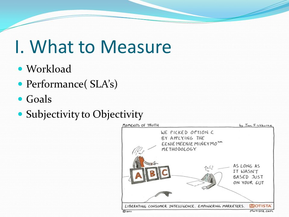 I. What to Measure Workload Performance( SLA's) Goals Subjectivity to Objectivity