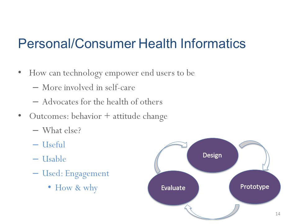 Personal/Consumer Health Informatics How can technology empower end users to be – More involved in self-care – Advocates for the health of others Outc