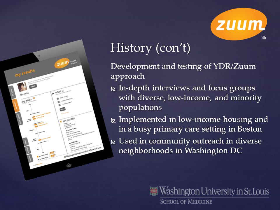 Development and testing of YDR/Zuum approach  In-depth interviews and focus groups with diverse, low-income, and minority populations  Implemented i