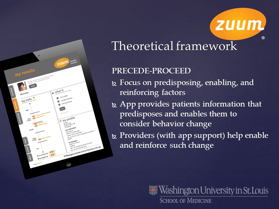 PRECEDE-PROCEED  Focus on  Focus on predisposing, enabling, and reinforcing factors   App provides patients information that predisposes and enabl