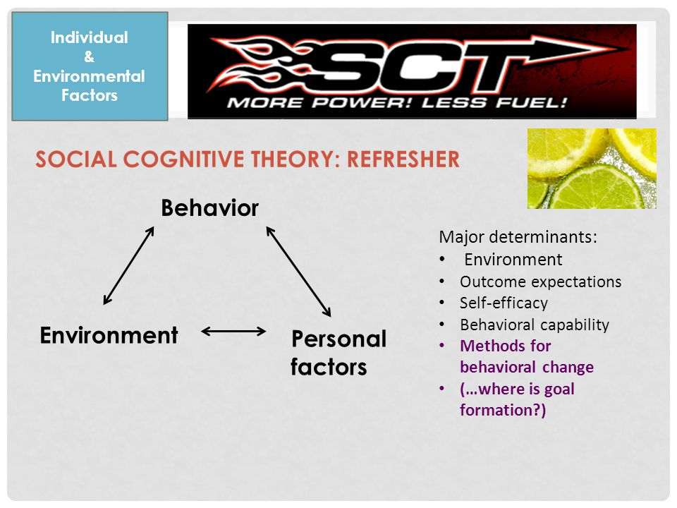 SOCIAL COGNITIVE THEORY: REFRESHER Individual & Environmental Factors Behavior Environment Personal factors Major determinants: Environment Outcome expectations Self-efficacy Behavioral capability Methods for behavioral change (…where is goal formation )