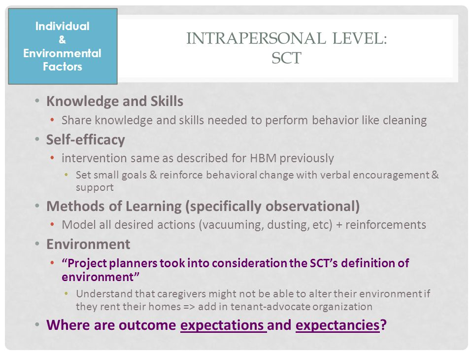 Knowledge and Skills Share knowledge and skills needed to perform behavior like cleaning Self-efficacy intervention same as described for HBM previously Set small goals & reinforce behavioral change with verbal encouragement & support Methods of Learning (specifically observational) Model all desired actions (vacuuming, dusting, etc) + reinforcements Environment Project planners took into consideration the SCT's definition of environment Understand that caregivers might not be able to alter their environment if they rent their homes => add in tenant-advocate organization Where are outcome expectations and expectancies.