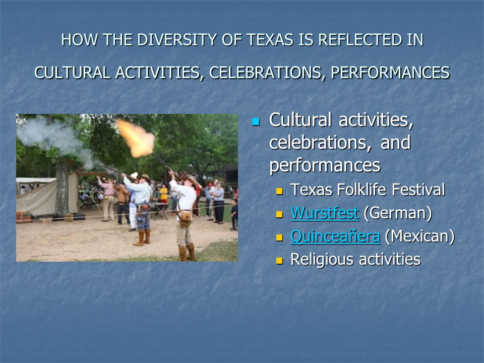 HOW THE DIVERSITY OF TEXAS IS REFLECTED IN CULTURAL ACTIVITIES, CELEBRATIONS, PERFORMANCES Cultural activities, celebrations, and performances Cultura