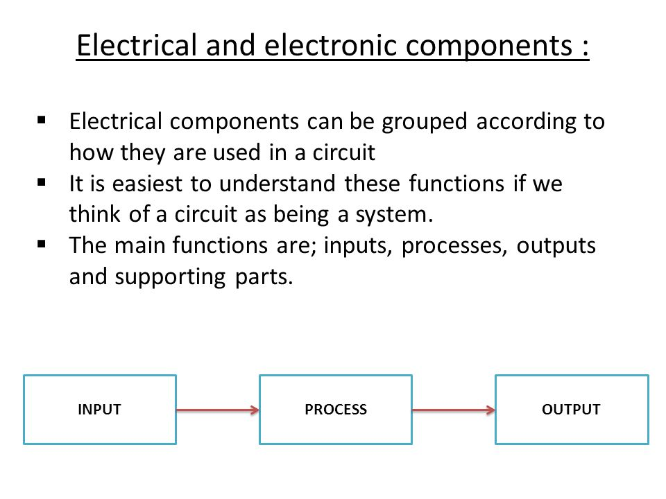  Electrical components can be grouped according to how they are used in a circuit  It is easiest to understand these functions if we think of a circuit as being a system.