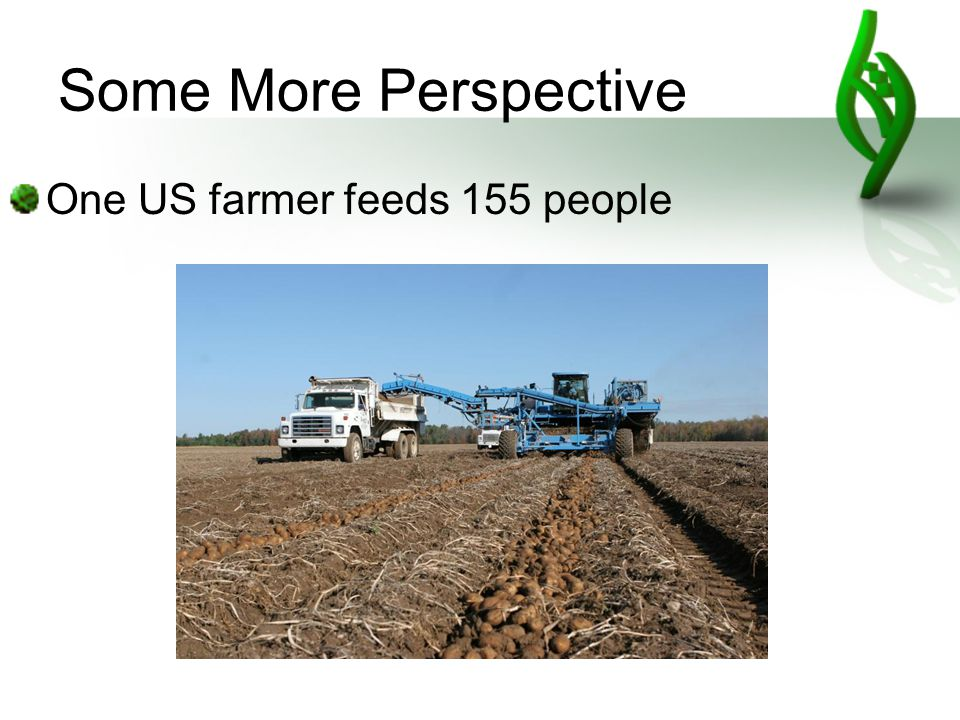 Some More Perspective One US farmer feeds 155 people