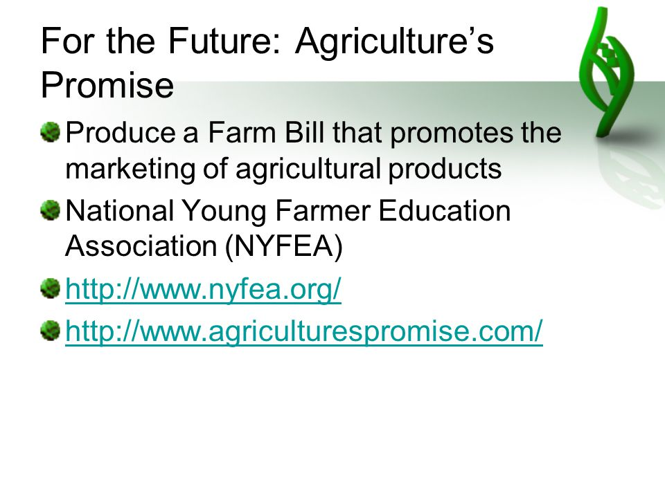 For the Future: Agriculture's Promise Produce a Farm Bill that promotes the marketing of agricultural products National Young Farmer Education Association (NYFEA) http://www.nyfea.org/ http://www.agriculturespromise.com/