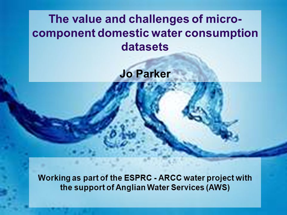 Study aim Examine the sensitivity of long-term water demand micro- components to climate variability and change.
