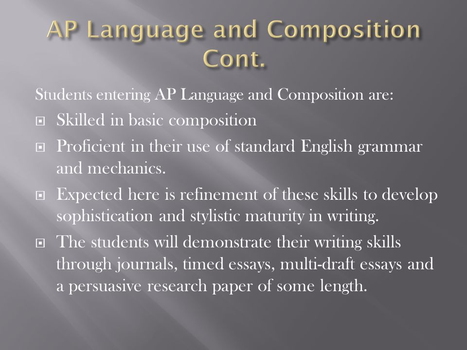 Students entering AP Language and Composition are:  Skilled in basic composition  Proficient in their use of standard English grammar and mechanics.