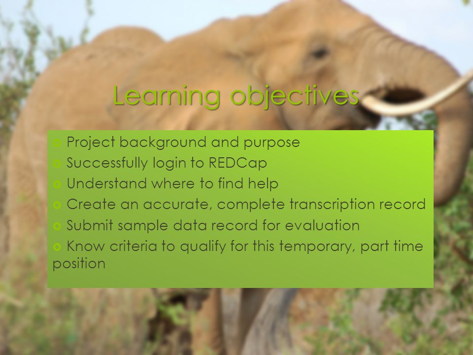 Learning objectives  Project background and purpose  Successfully login to REDCap  Understand where to find help  Create an accurate, complete transcription record  Submit sample data record for evaluation  Know criteria to qualify for this temporary, part time position