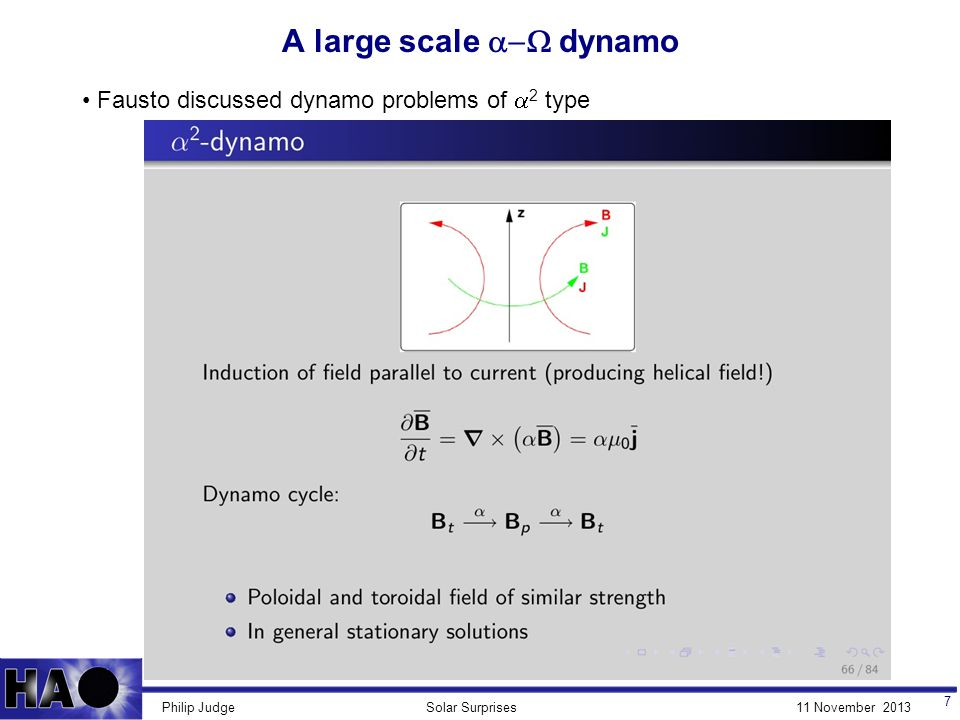 11 November 2013Solar SurprisesPhilip Judge A large scale  dynamo 7 Fausto discussed dynamo problems of  2 type