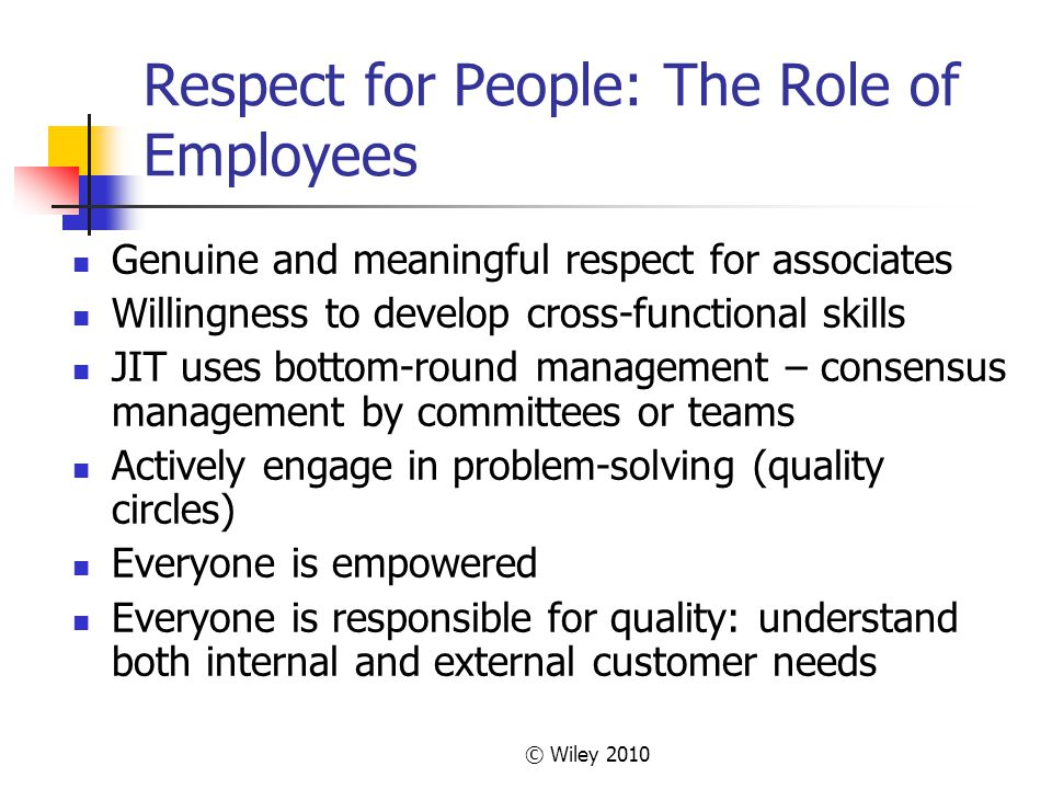 © Wiley 2010 Respect for People: The Role of Employees Genuine and meaningful respect for associates Willingness to develop cross-functional skills JI