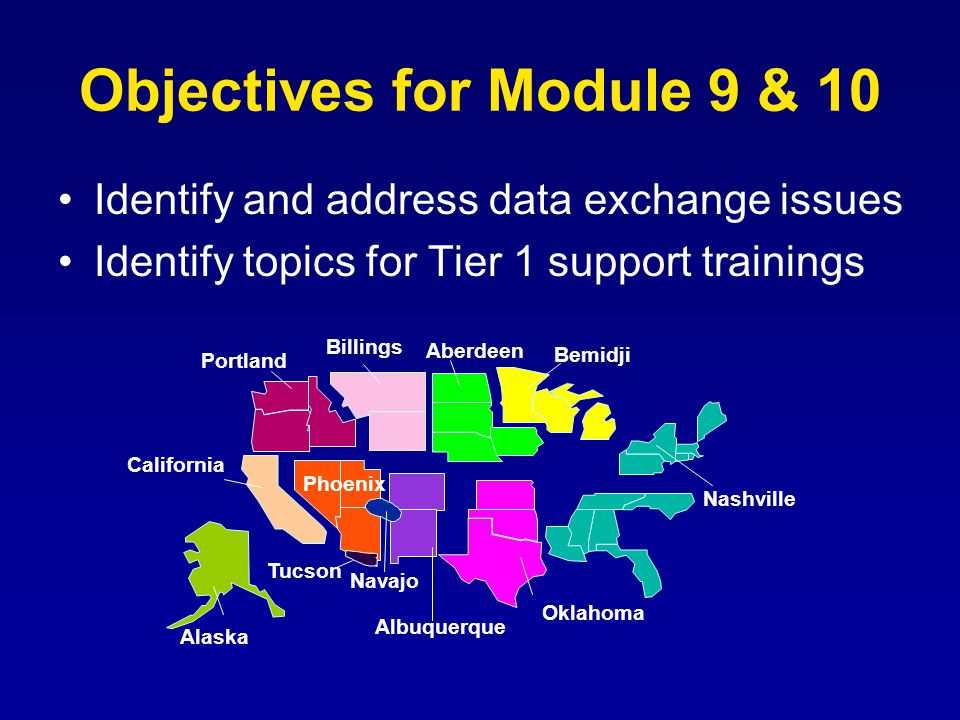 Objectives for Module 9 & 10 Identify and address data exchange issues Identify topics for Tier 1 support trainings Albuquerque Portland Billings California Phoenix Oklahoma Nashville Navajo Tucson Alaska Bemidji Aberdeen