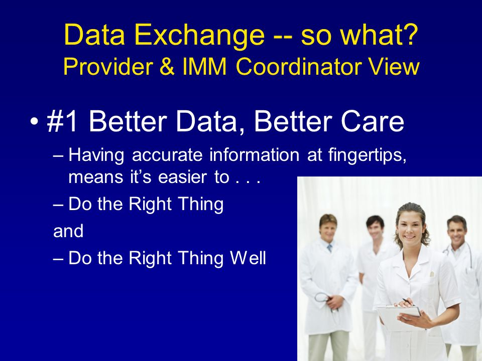 Data Exchange -- so what.