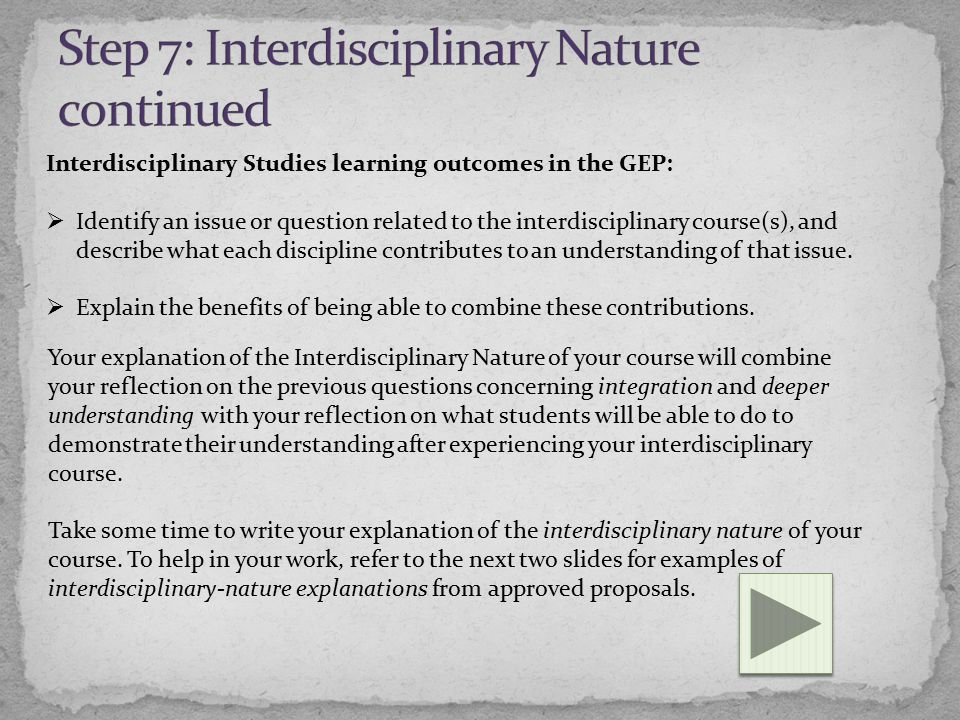 Interdisciplinary Studies learning outcomes in the GEP:  Identify an issue or question related to the interdisciplinary course(s), and describe what each discipline contributes to an understanding of that issue.