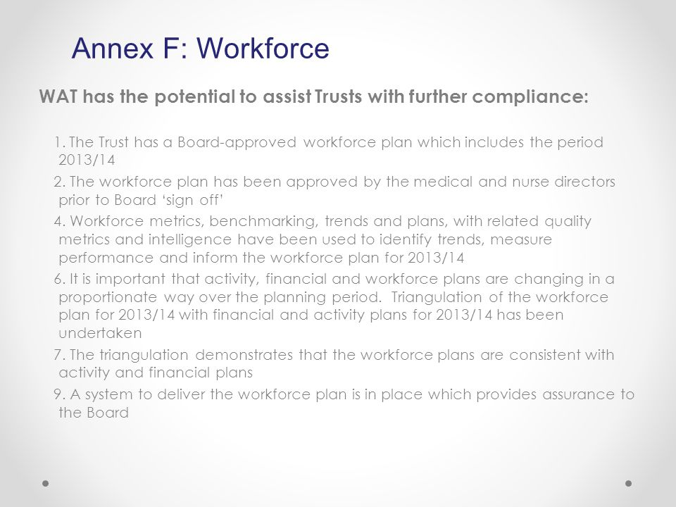 WAT has the potential to assist Trusts with further compliance: 1.The Trust has a Board-approved workforce plan which includes the period 2013/14 2.