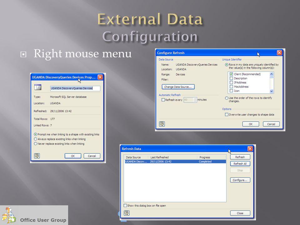  Right mouse menu