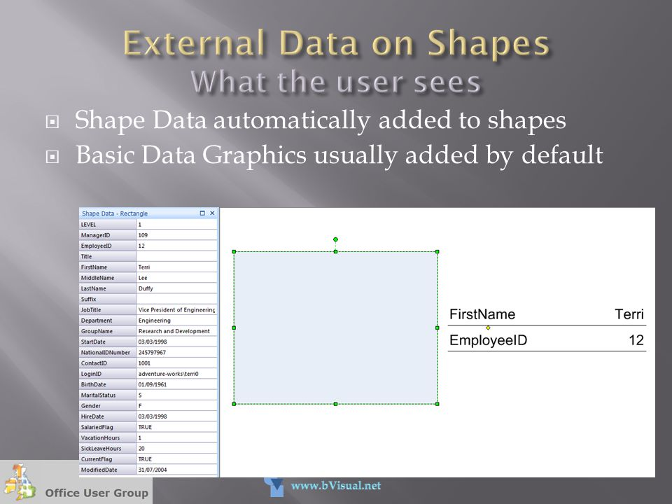  Shape Data automatically added to shapes  Basic Data Graphics usually added by default