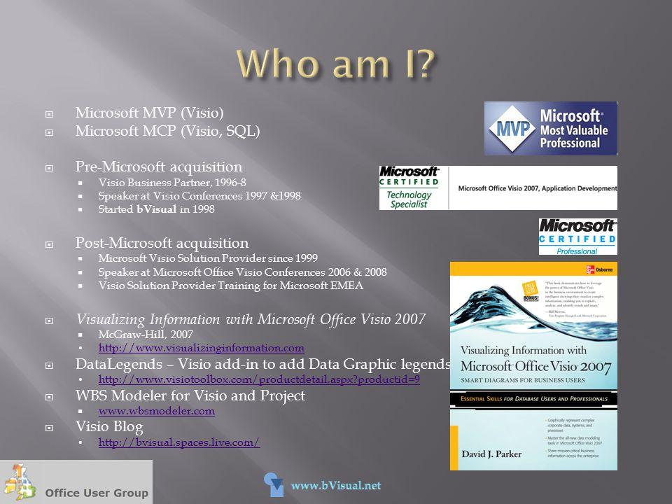  Microsoft MVP (Visio)  Microsoft MCP (Visio, SQL)  Pre-Microsoft acquisition  Visio Business Partner, 1996-8  Speaker at Visio Conferences 1997