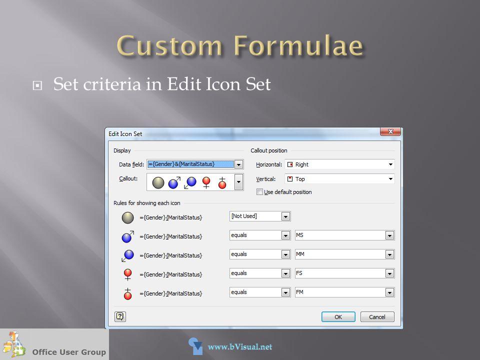 Set criteria in Edit Icon Set