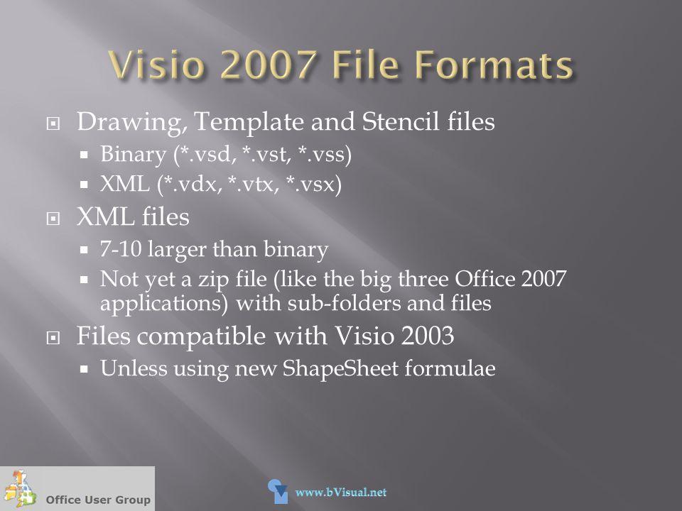  Drawing, Template and Stencil files  Binary (*.vsd, *.vst, *.vss)  XML (*.vdx, *.vtx, *.vsx)  XML files  7-10 larger than binary  Not yet a zip