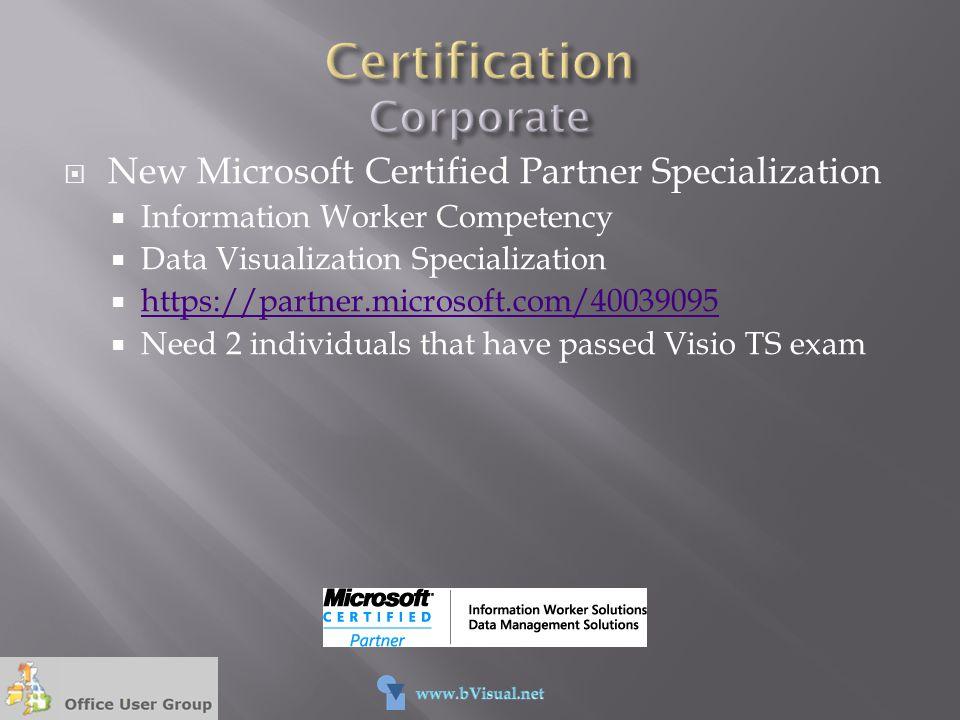  New Microsoft Certified Partner Specialization  Information Worker Competency  Data Visualization Specialization  https://partner.microsoft.com/4