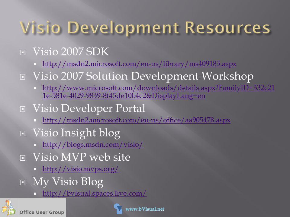  Visio 2007 SDK  http://msdn2.microsoft.com/en-us/library/ms409183.aspx http://msdn2.microsoft.com/en-us/library/ms409183.aspx  Visio 2007 Solution