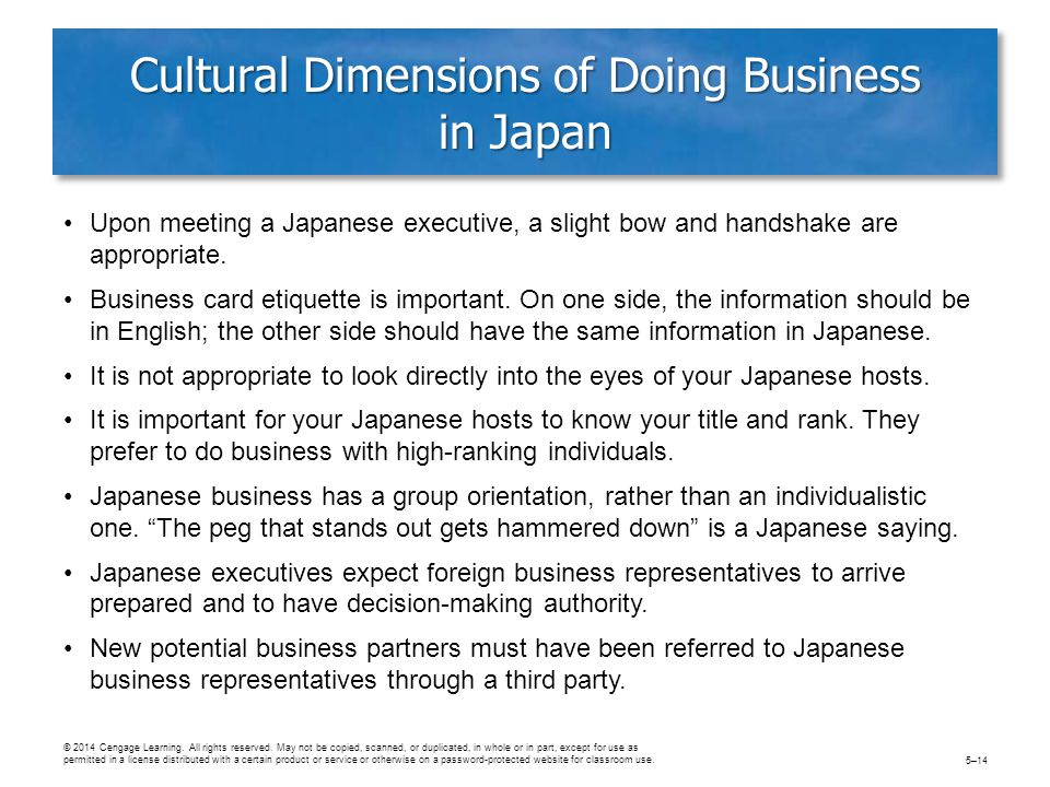Cultural Dimensions of Doing Business in Japan Upon meeting a Japanese executive, a slight bow and handshake are appropriate.